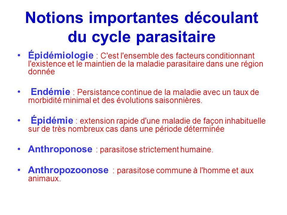 Notions importantes découlant du cycle parasitaire Épidémiologie : C'est l'ensemble des facteurs conditionnant l'existence et le maintien de la maladi