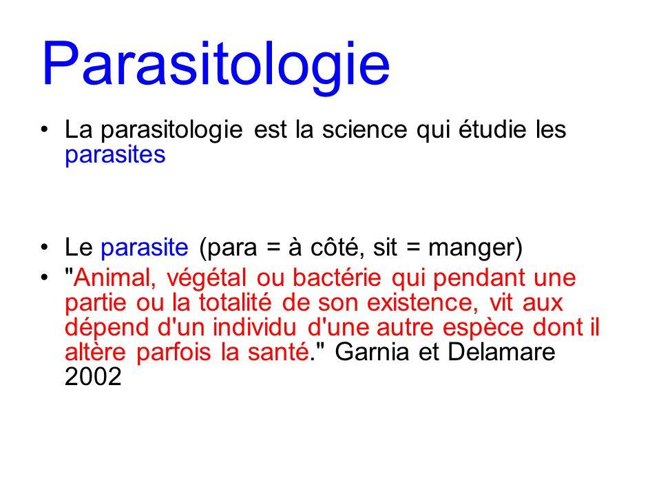 Parasitologie La parasitologie est la science qui étudie les parasites Le parasite (para = à côté, sit = manger)