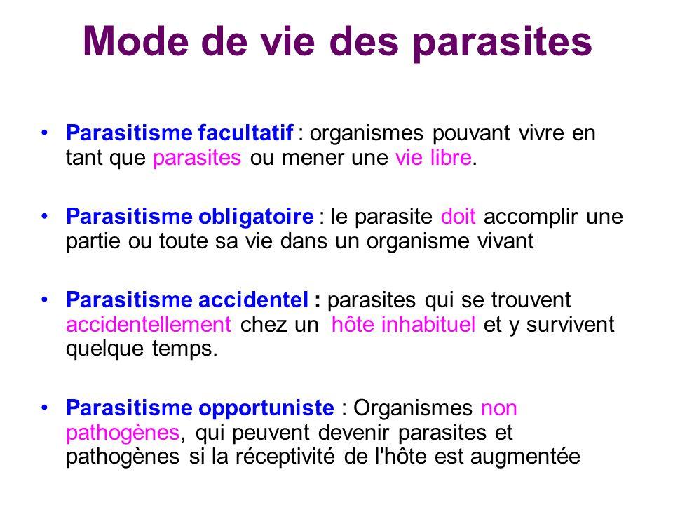 Mode de vie des parasites Parasitisme facultatif : organismes pouvant vivre en tant que parasites ou mener une vie libre. Parasitisme obligatoire : le