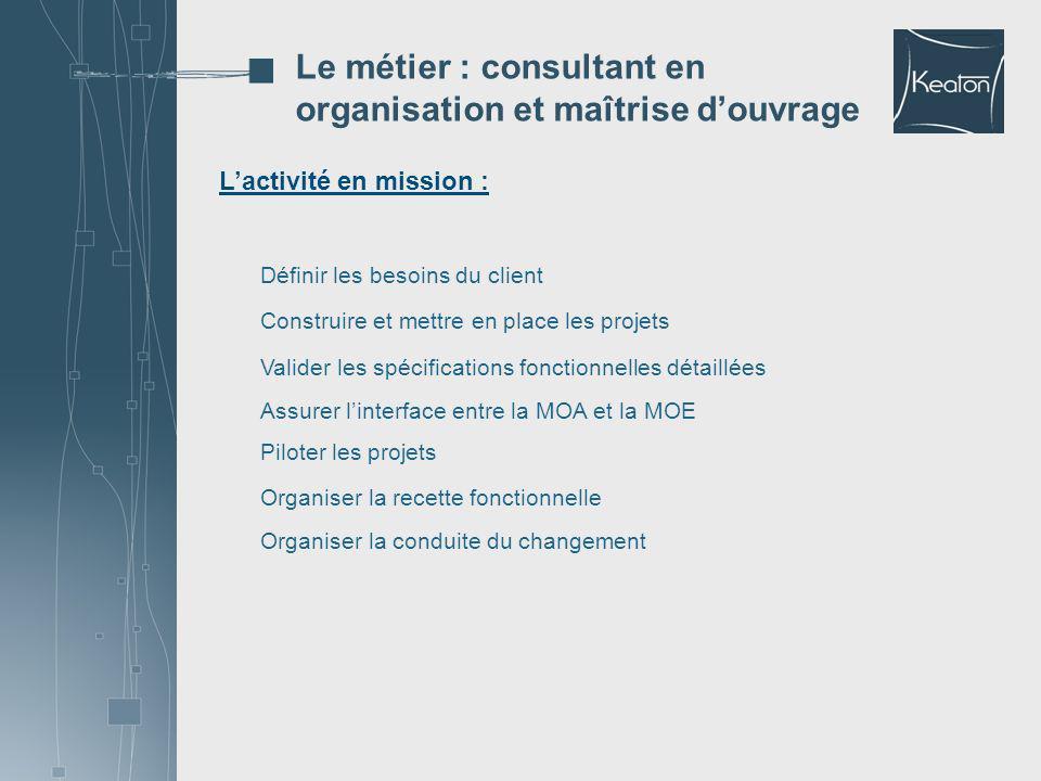 Lactivité en mission : Le métier : consultant en organisation et maîtrise douvrage Définir les besoins du client Construire et mettre en place les pro