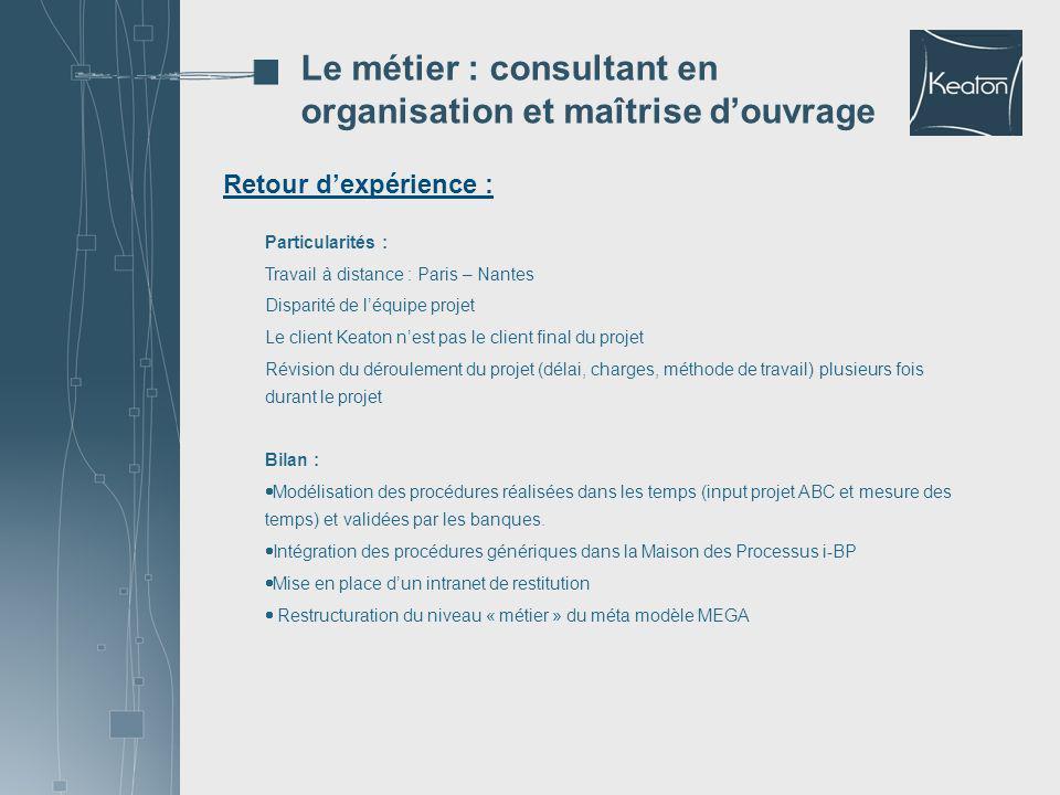 Retour dexpérience : Le métier : consultant en organisation et maîtrise douvrage Particularités : Travail à distance : Paris – Nantes Disparité de léq