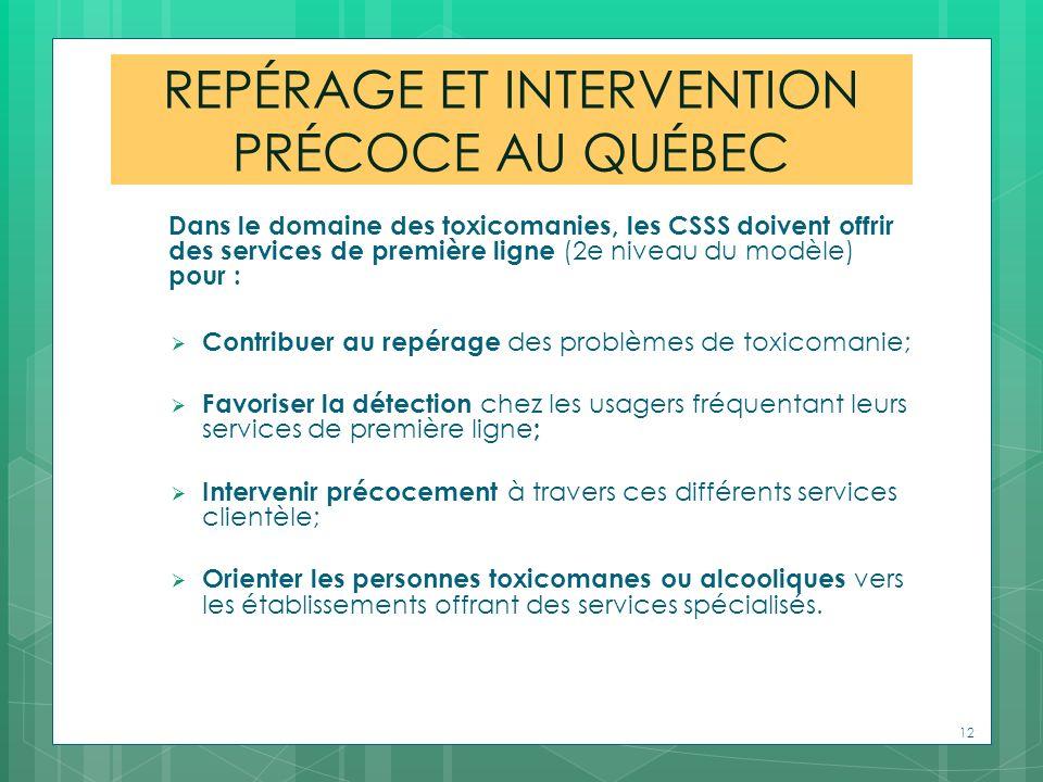 REPÉRAGE ET INTERVENTION PRÉCOCE AU QUÉBEC Dans le domaine des toxicomanies, les CSSS doivent offrir des services de première ligne (2e niveau du modè