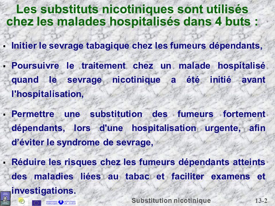 13-2 Substitution nicotinique Les substituts nicotiniques sont utilisés chez les malades hospitalisés dans 4 buts : Initier le sevrage tabagique chez