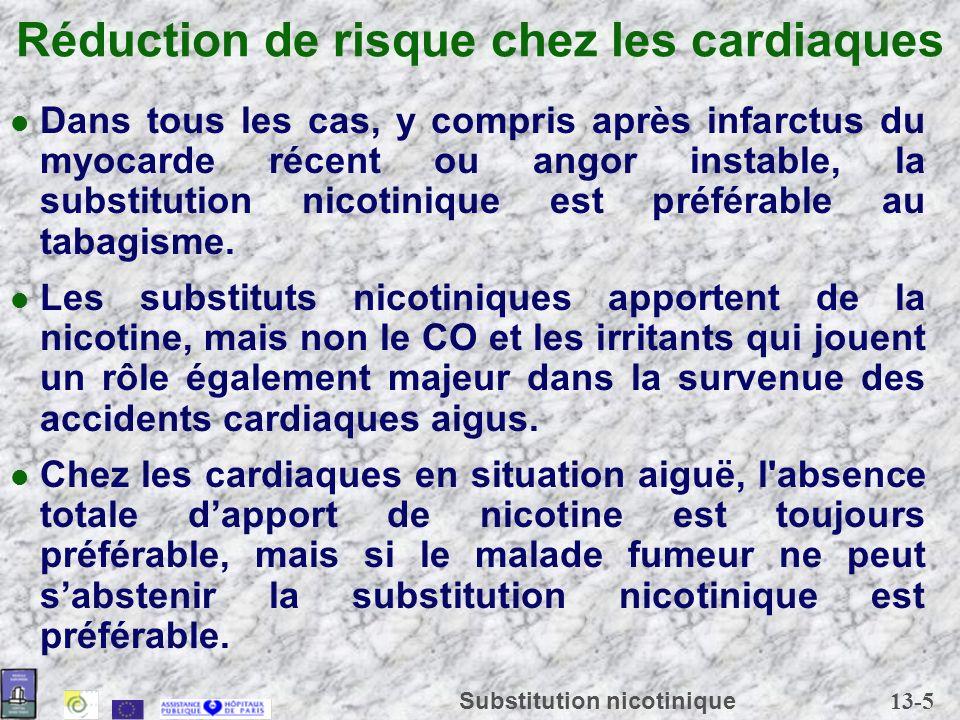 13-6 Substitution nicotinique Réduction de risque chez les malades respiratoires Les substituts nicotiniques n ont quasiment aucun effet respiratoire, alors que la cigarette est responsable d effets immédiats et à long terme.