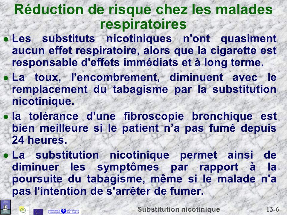 13-6 Substitution nicotinique Réduction de risque chez les malades respiratoires Les substituts nicotiniques n'ont quasiment aucun effet respiratoire,