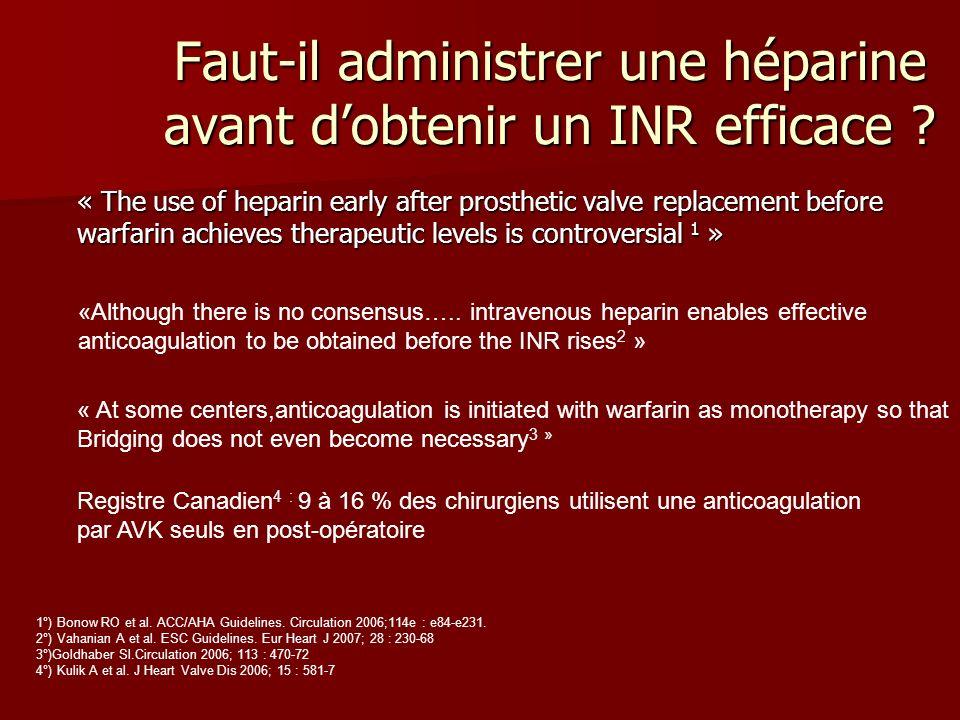 Faut-il administrer une héparine avant dobtenir un INR efficace .