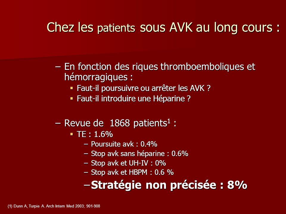 Chez les patients sous AVK au long cours : –En fonction des riques thromboemboliques et hémorragiques : Faut-il poursuivre ou arrêter les AVK ? Faut-i