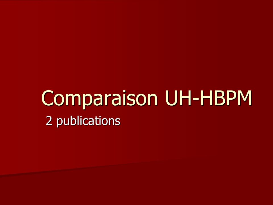 Comparaison UH-HBPM 2 publications