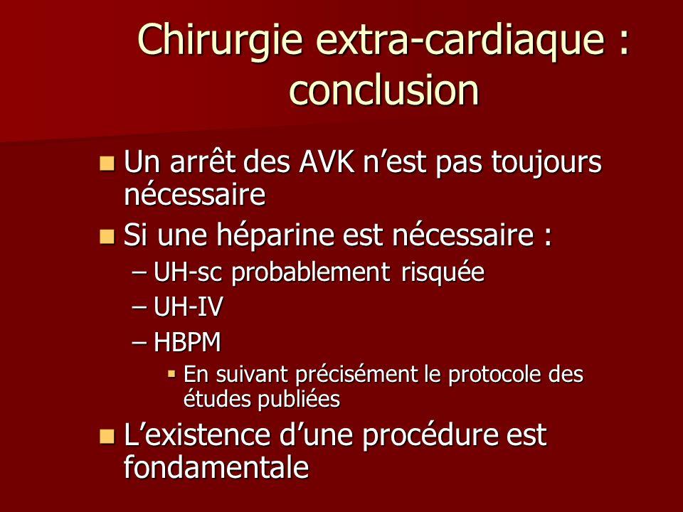 Chirurgie extra-cardiaque : conclusion Un arrêt des AVK nest pas toujours nécessaire Un arrêt des AVK nest pas toujours nécessaire Si une héparine est
