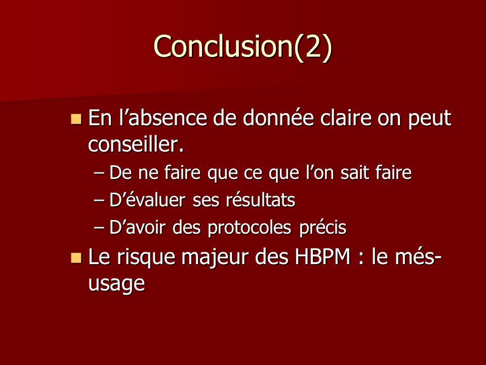 Conclusion(2) En labsence de donnée claire on peut conseiller. En labsence de donnée claire on peut conseiller. –De ne faire que ce que lon sait faire