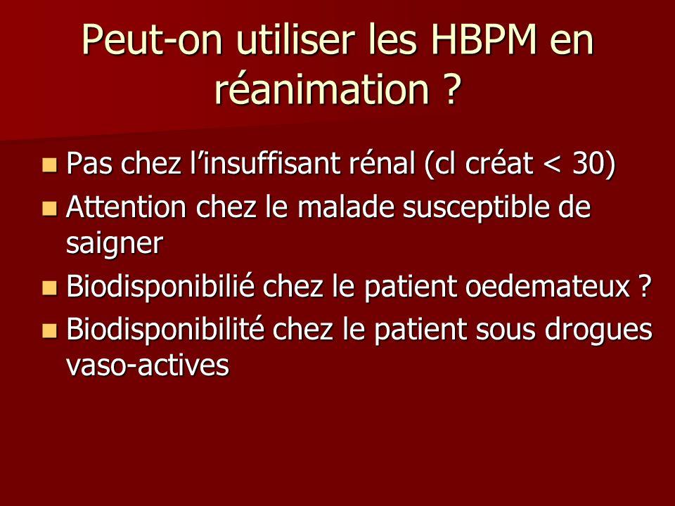 Peut-on utiliser les HBPM en réanimation ? Pas chez linsuffisant rénal (cl créat < 30) Pas chez linsuffisant rénal (cl créat < 30) Attention chez le m