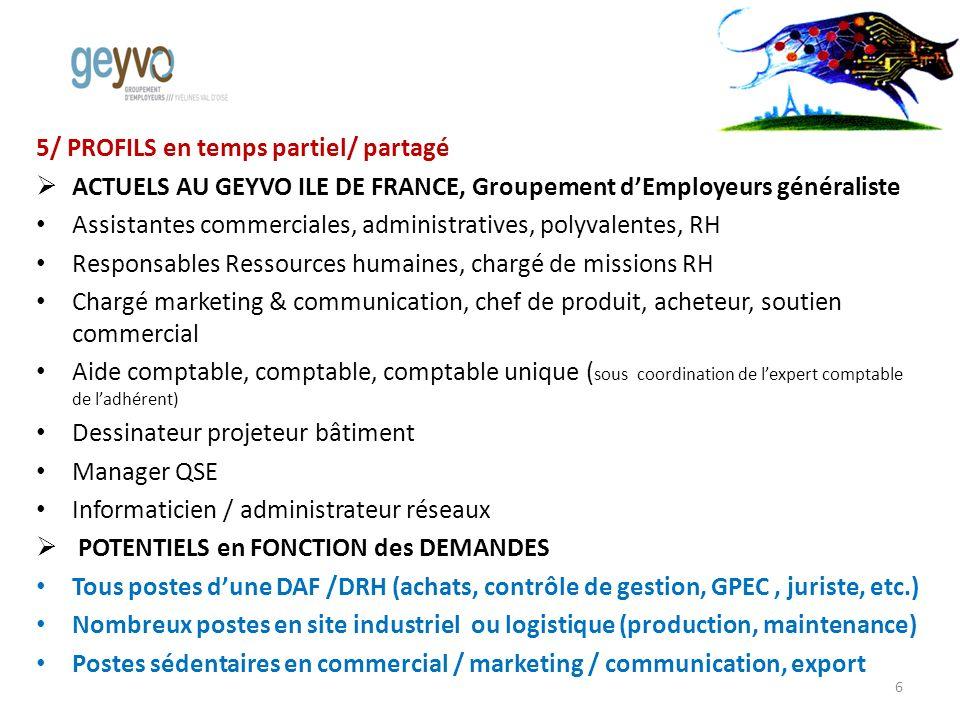 5/ PROFILS en temps partiel/ partagé ACTUELS AU GEYVO ILE DE FRANCE, Groupement dEmployeurs généraliste Assistantes commerciales, administratives, pol