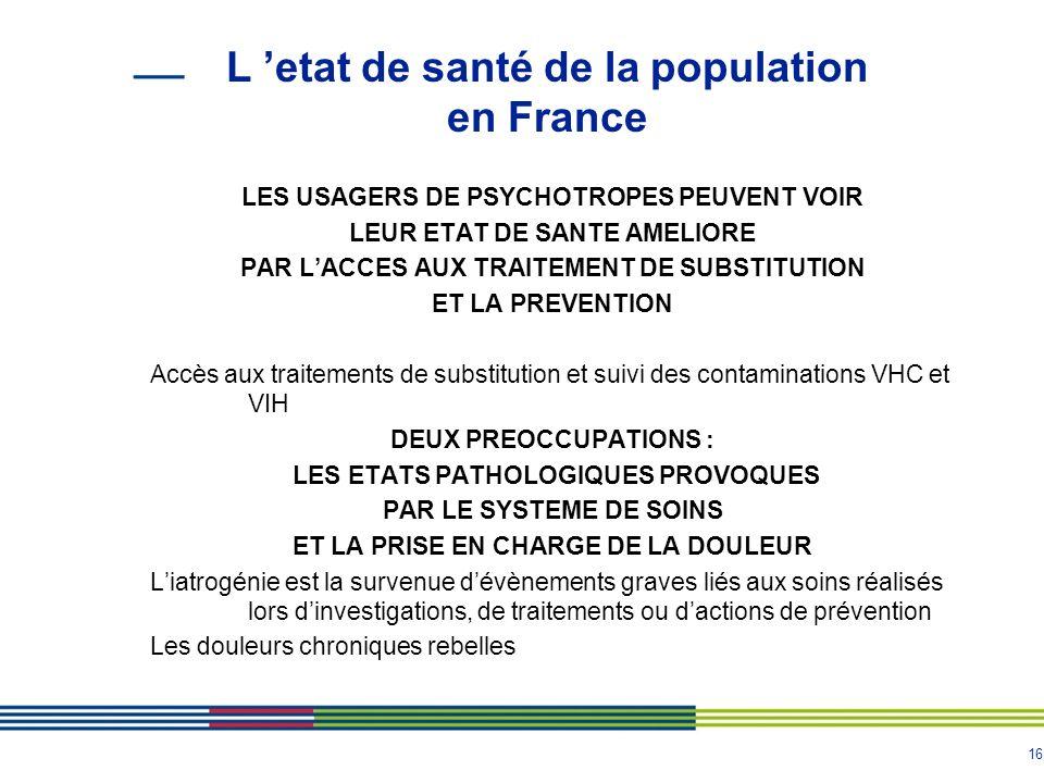16 L etat de santé de la population en France LES USAGERS DE PSYCHOTROPES PEUVENT VOIR LEUR ETAT DE SANTE AMELIORE PAR LACCES AUX TRAITEMENT DE SUBSTI