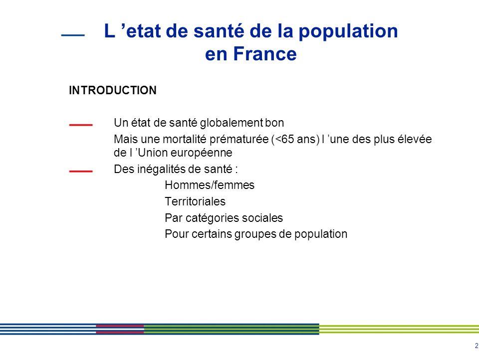 2 L etat de santé de la population en France INTRODUCTION Un état de santé globalement bon Mais une mortalité prématurée (<65 ans) l une des plus élev