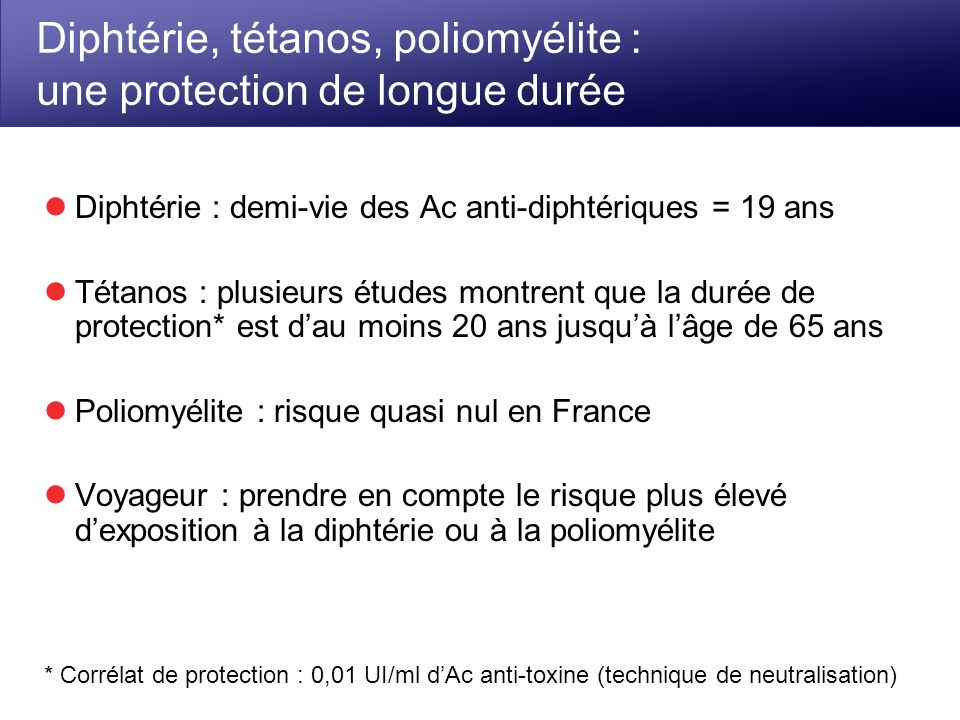 Diphtérie, tétanos, poliomyélite : une protection de longue durée Diphtérie : demi-vie des Ac anti-diphtériques = 19 ans Tétanos : plusieurs études mo