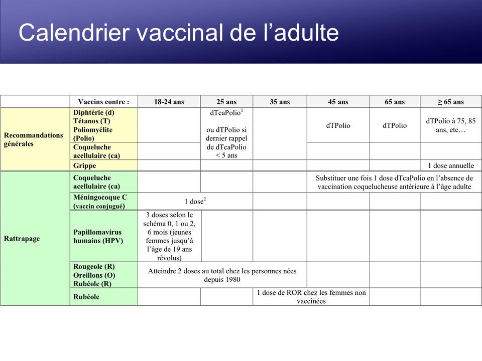 Calendrier vaccinal de ladulte