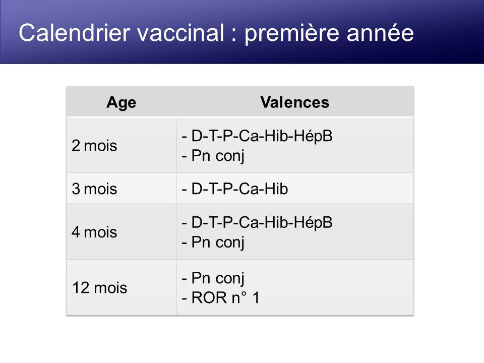 Calendrier vaccinal : première année
