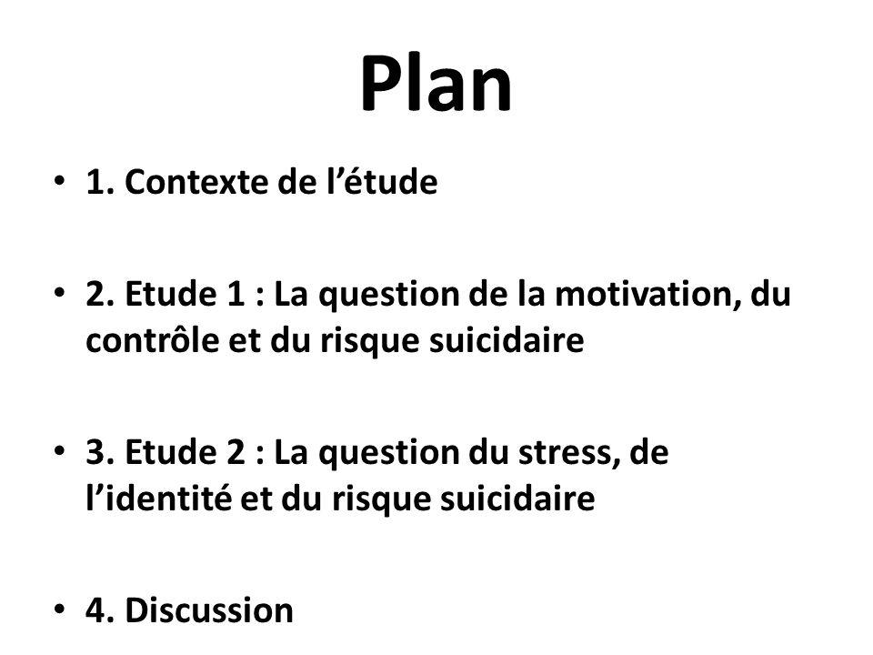 Plan 1. Contexte de létude 2. Etude 1 : La question de la motivation, du contrôle et du risque suicidaire 3. Etude 2 : La question du stress, de liden