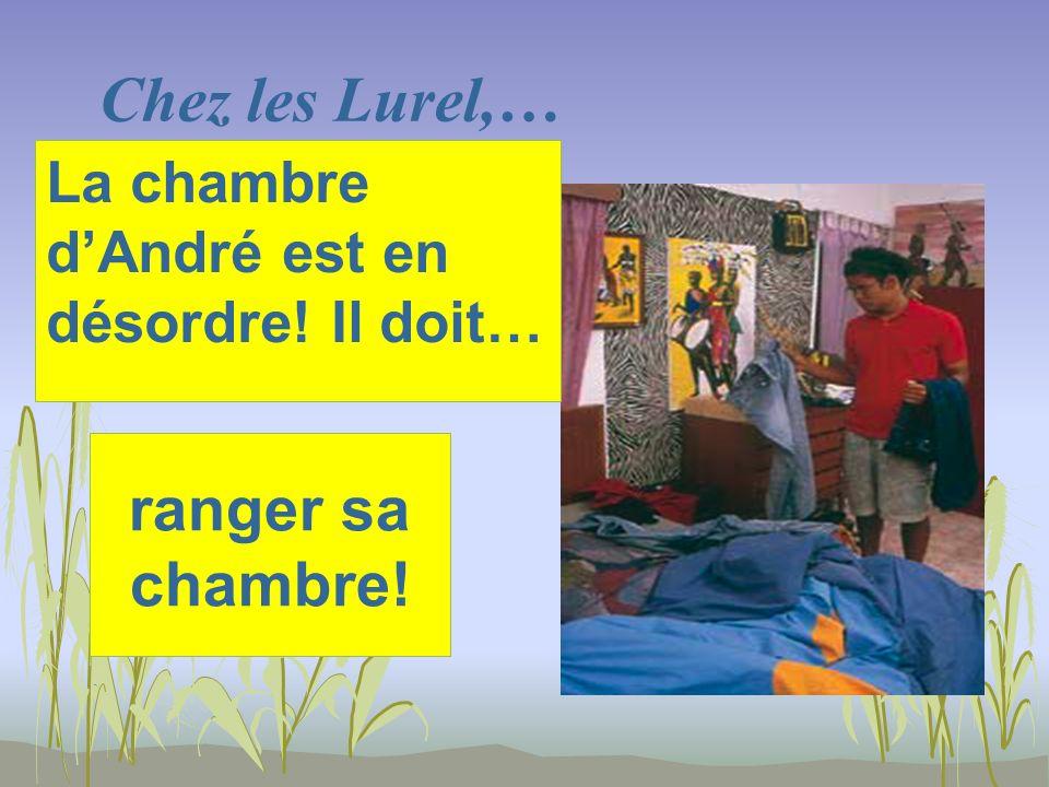Chez les Lurel,… ranger sa chambre! La chambre dAndré est en désordre! Il doit…
