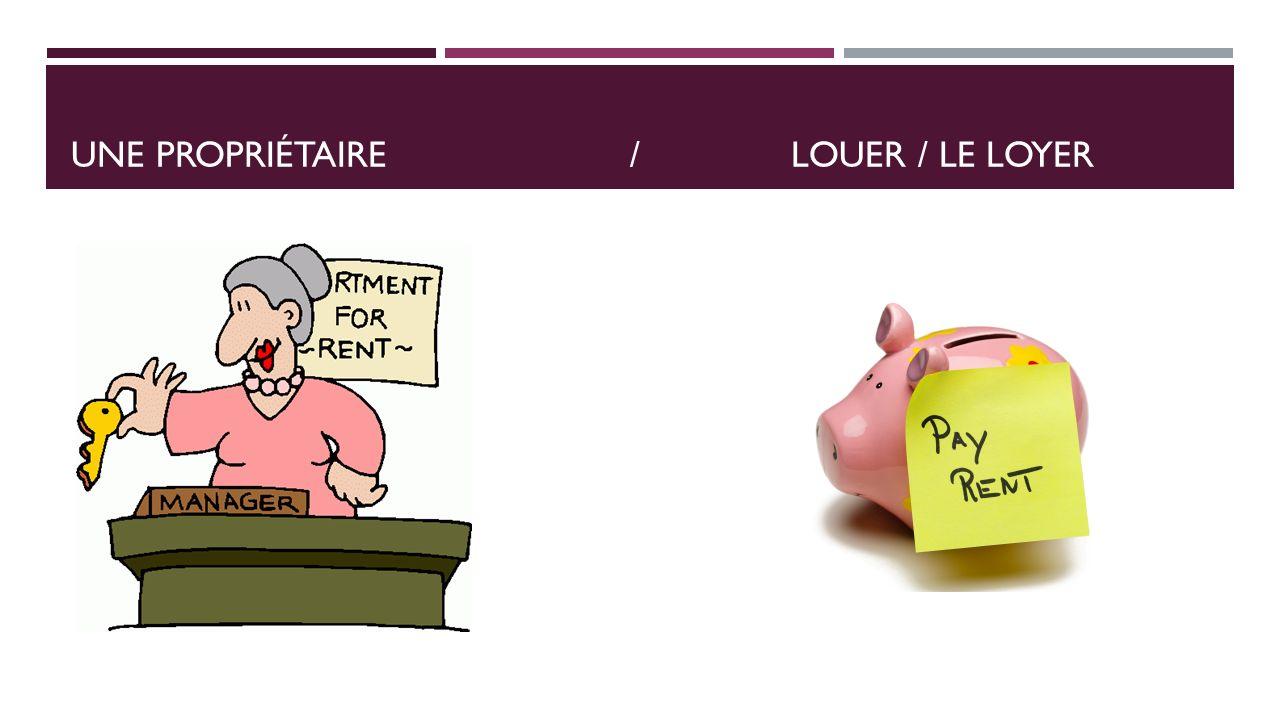 UNE PROPRIÉTAIRE /LOUER / LE LOYER