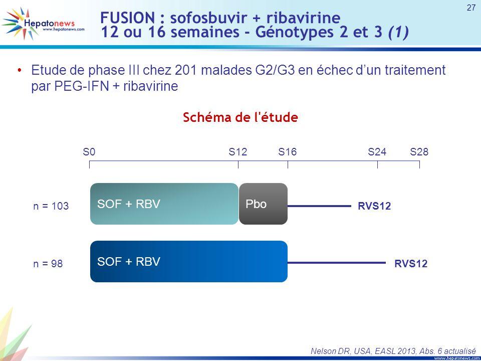 FUSION : sofosbuvir + ribavirine 12 ou 16 semaines - Génotypes 2 et 3 (1) Etude de phase III chez 201 malades G2/G3 en échec dun traitement par PEG-IFN + ribavirine Nelson DR, USA, EASL 2013, Abs.