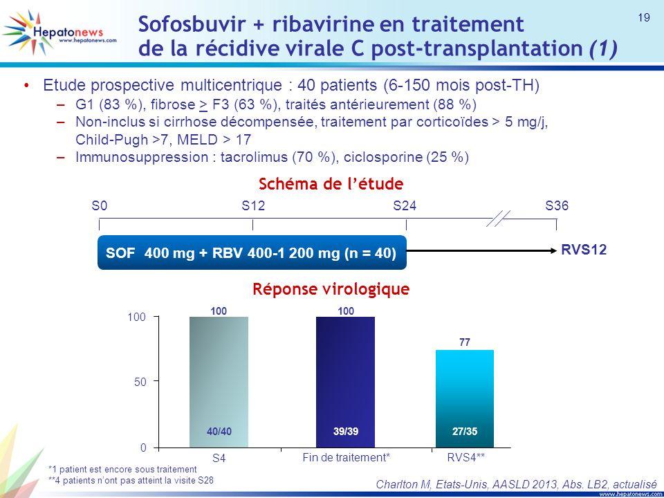 Sofosbuvir + ribavirine en traitement de la récidive virale C post-transplantation (1) Etude prospective multicentrique : 40 patients (6-150 mois post