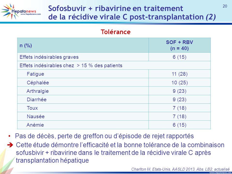 Tolérance n (%) SOF + RBV (n = 40) Effets indésirables graves6 (15) Effets indésirables chez > 15 % des patients Fatigue11 (28) Céphalée10 (25) Arthralgie9 (23) Diarrhée9 (23) Toux7 (18) Nausée7 (18) Anémie6 (15) Cette étude démontre lefficacité et la bonne tolérance de la combinaison sofusbivir + ribavirine dans le traitement de la récidive virale C après transplantation hépatique Sofosbuvir + ribavirine en traitement de la récidive virale C post-transplantation (2) Pas de décès, perte de greffon ou dépisode de rejet rapportés Charlton M, Etats-Unis, AASLD 2013, Abs.