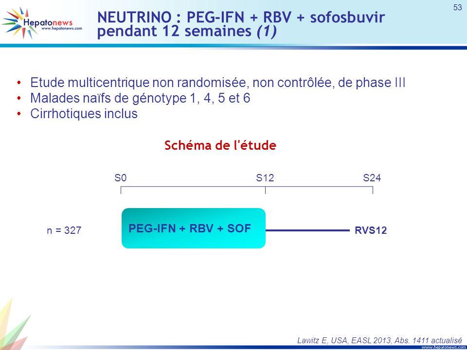 NEUTRINO : PEG-IFN + RBV + sofosbuvir pendant 12 semaines (1) Etude multicentrique non randomisée, non contrôlée, de phase III Malades naïfs de génotype 1, 4, 5 et 6 Cirrhotiques inclus Lawitz E, USA, EASL 2013, Abs.