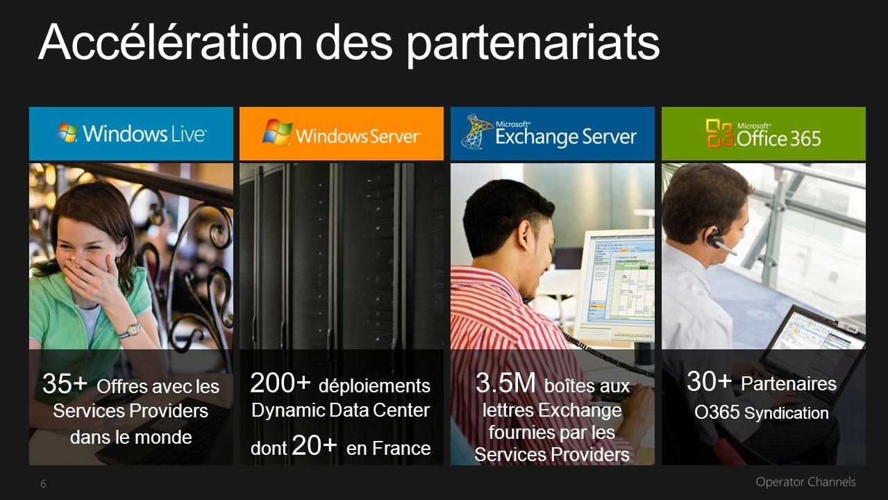 6 35+ Offres avec les Services Providers dans le monde 200+ déploiements Dynamic Data Center dont 20+ en France 30+ Partenaires O365 Syndication 3.5M boîtes aux lettres Exchange fournies par les Services Providers