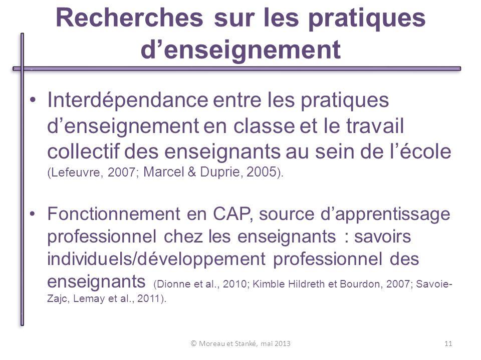Interdépendance entre les pratiques denseignement en classe et le travail collectif des enseignants au sein de lécole (Lefeuvre, 2007; Marcel & Duprie, 2005 ).