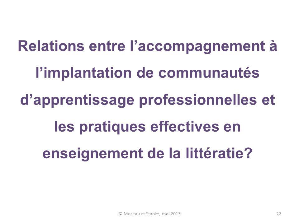 Relations entre laccompagnement à limplantation de communautés dapprentissage professionnelles et les pratiques effectives en enseignement de la littératie.