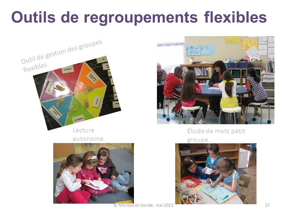 Outils de regroupements flexibles © Moreau et Stanké, mai 201327 Lecture autonome Étude de mots petit groupe Outil de gestion des groupes flexibles