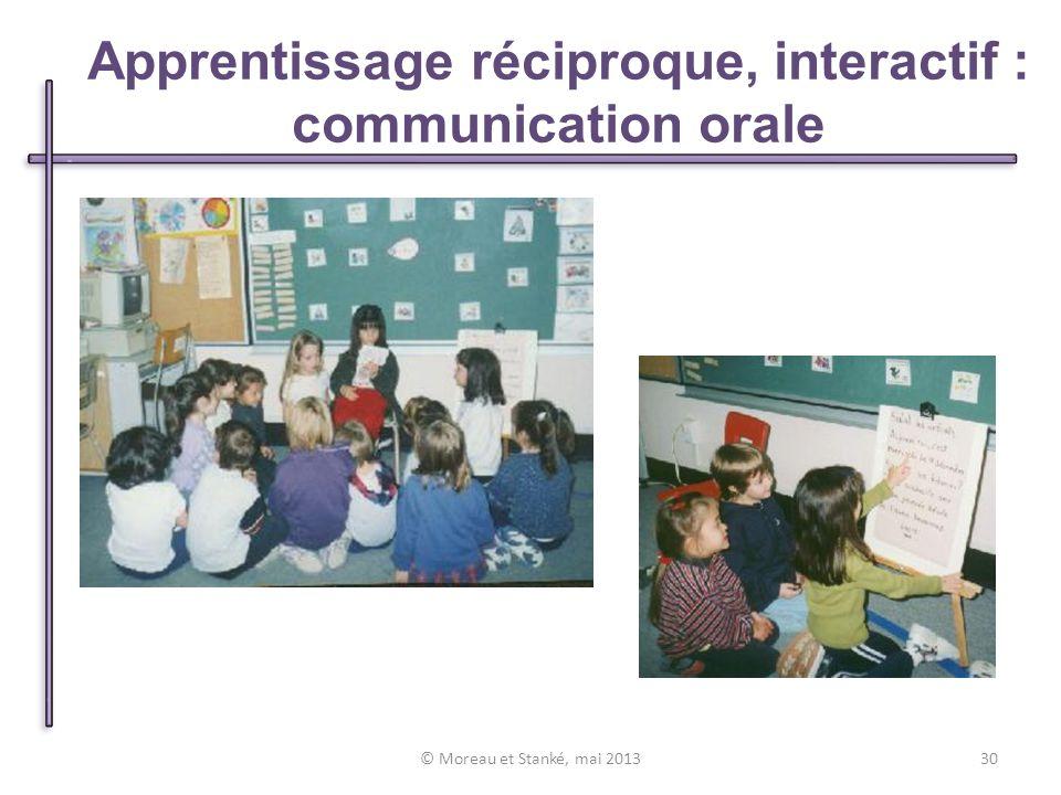 © Moreau et Stanké, mai 201330 Apprentissage réciproque, interactif : communication orale