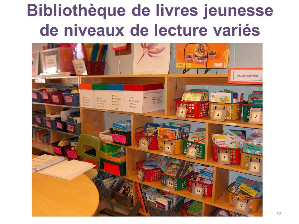 Bibliothèque de livres jeunesse de niveaux de lecture variés © Moreau et Stanké, mai 201332