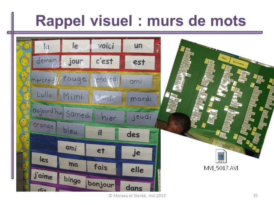 Rappel visuel : murs de mots © Moreau et Stanké, mai 201335