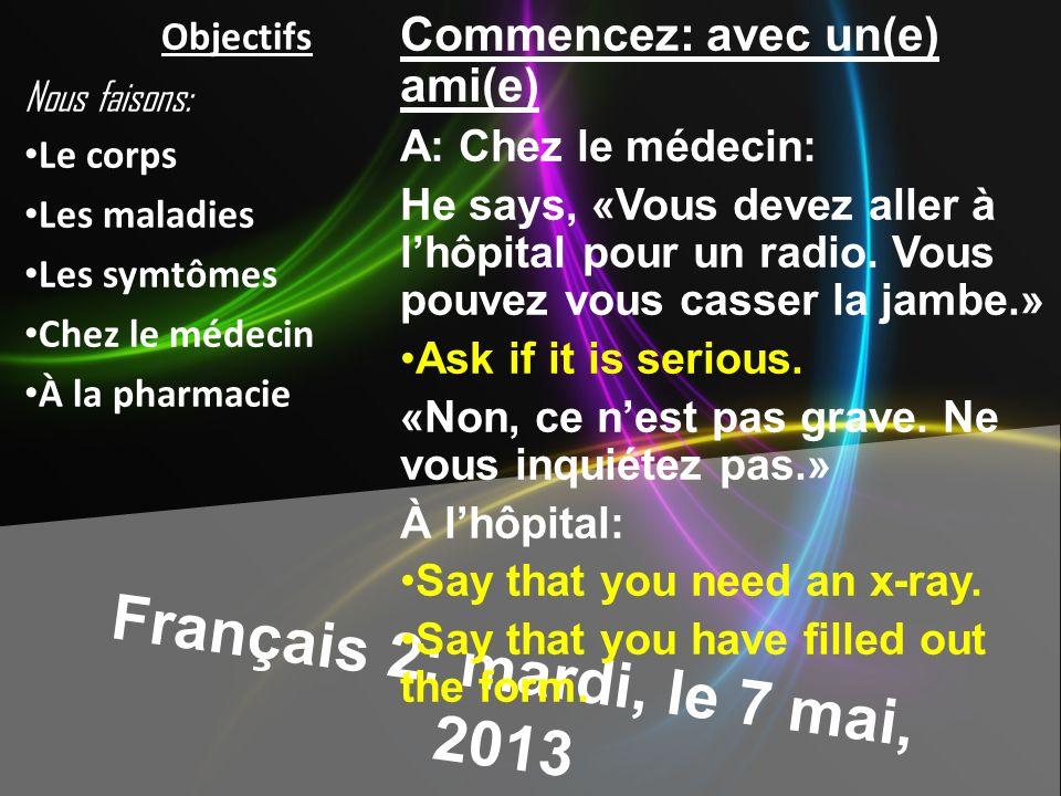 Français 2: mardi, le 7 mai, 2013 Commencez: avec un(e) ami(e) A: Chez le médecin: He says, «Vous devez aller à lhôpital pour un radio.