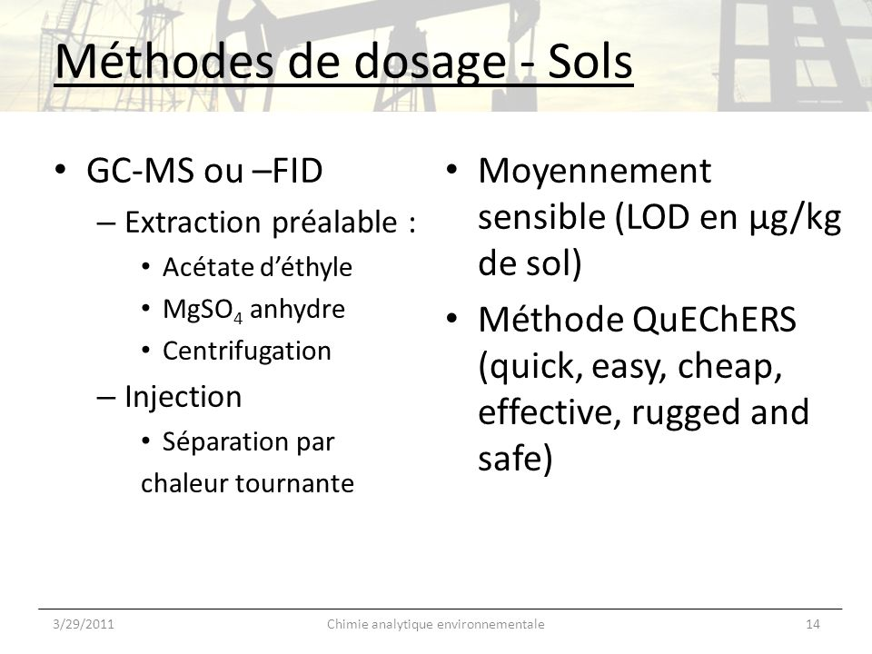 Méthodes de dosage - Sols GC-MS ou –FID – Extraction préalable : Acétate déthyle MgSO 4 anhydre Centrifugation – Injection Séparation par chaleur tournante 3/29/201114Chimie analytique environnementale Moyennement sensible (LOD en µg/kg de sol) Méthode QuEChERS (quick, easy, cheap, effective, rugged and safe)