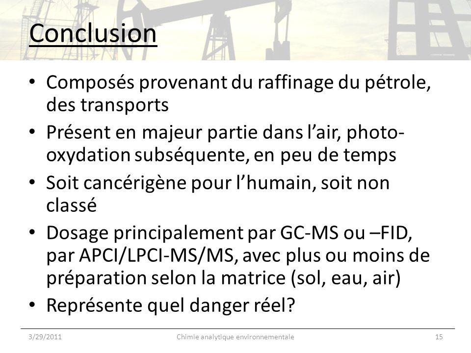 Conclusion Composés provenant du raffinage du pétrole, des transports Présent en majeur partie dans lair, photo- oxydation subséquente, en peu de temp