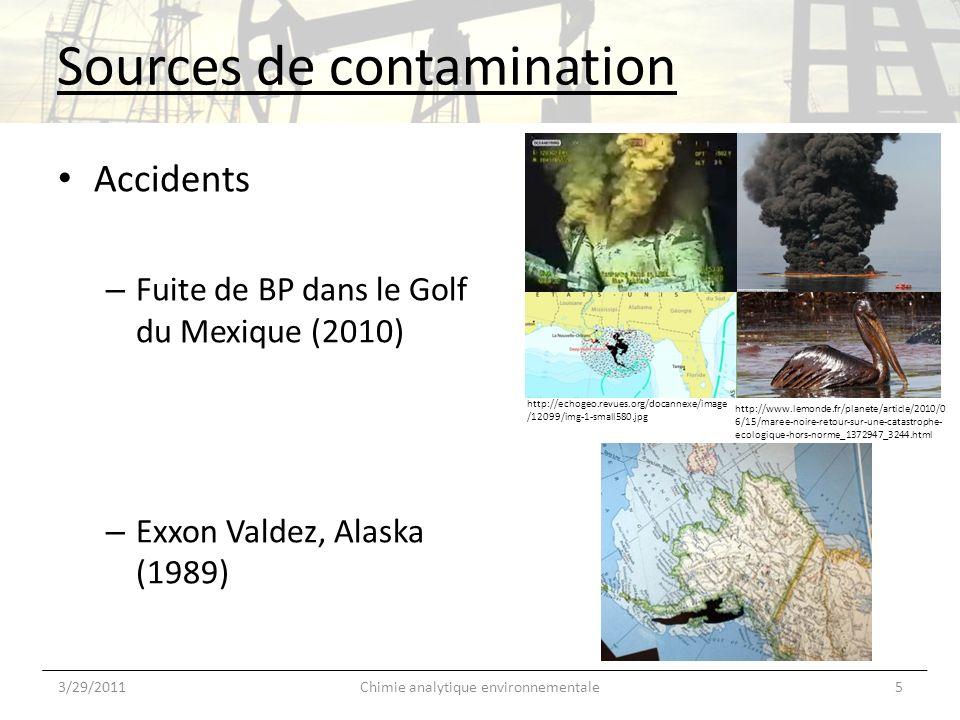 Devenir 3/29/20116Chimie analytique environnementale BTEX Vers lac, ruisseau Volatilisation Précipitation (benzène et toluène) Volatilisation (-1/2 = 5 heures) Phase soluble (B et T) ou particulaire (E et X) Photo-oxydation Biodeg.