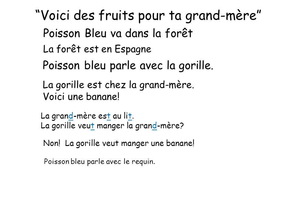 Voici des fruits pour ta grand-mère Poisson Bleu va dans la forêt La forêt est en Espagne Poisson bleu parle avec la gorille. La gorille est chez la g