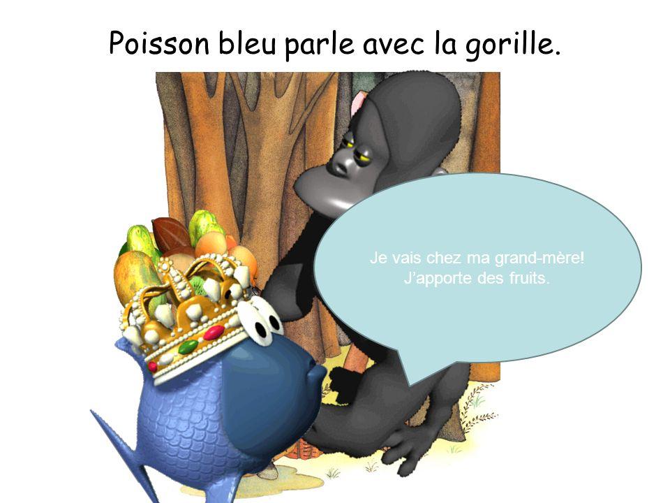 Poisson bleu parle avec la gorille. Je vais chez ma grand-mère! Japporte des fruits.