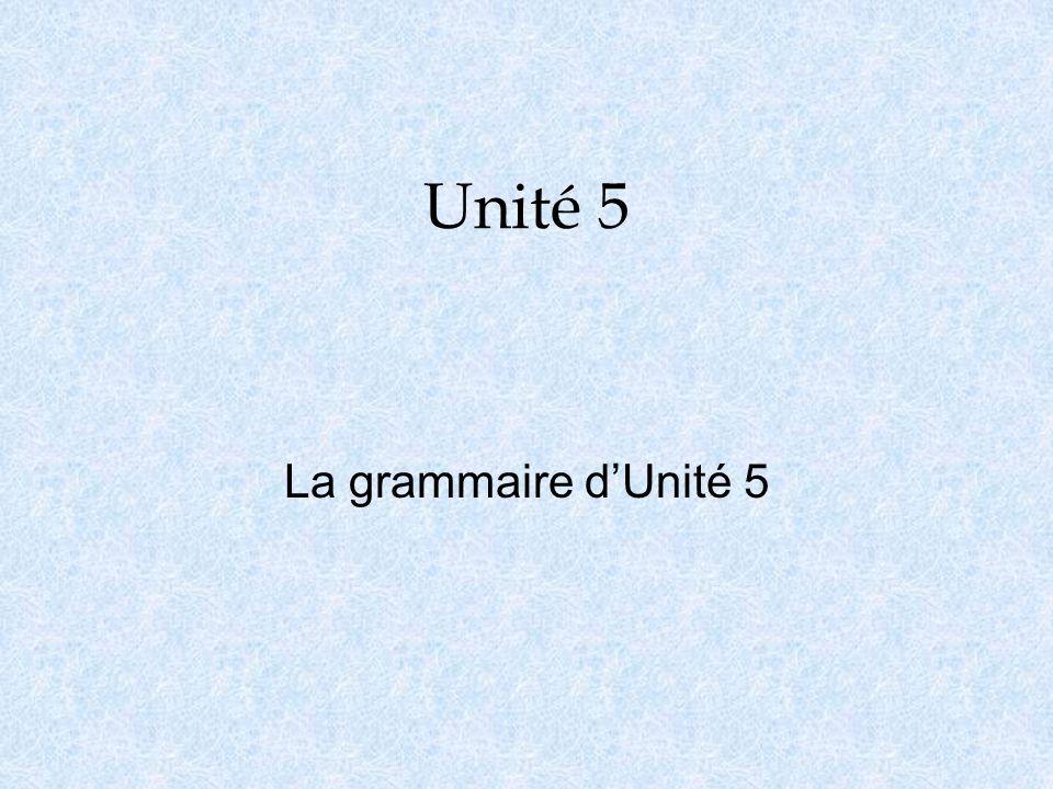 Unité 5 La grammaire dUnité 5