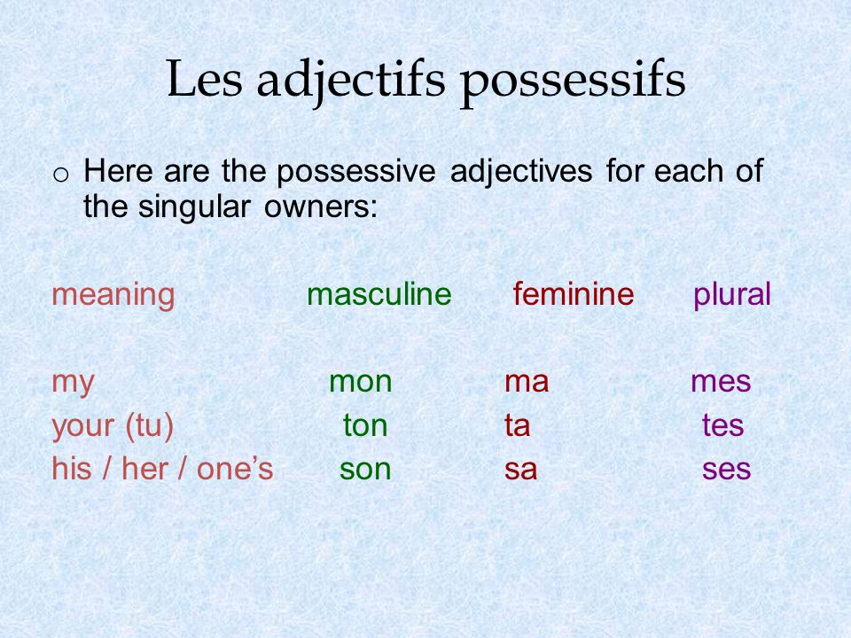 Les adjectifs possessifs o Here are the possessive adjectives for each of the singular owners: meaningmasculine feminine plural my mon ma mes your (tu