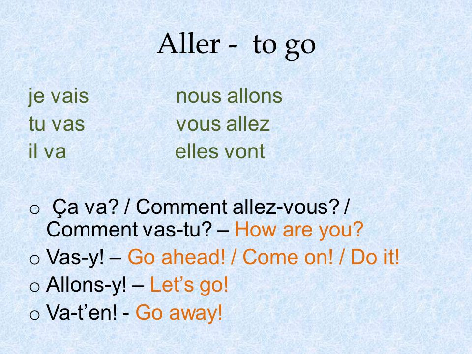 à + larticle défini o à means to / at / in o To say to the: - à + le = au (for masc.