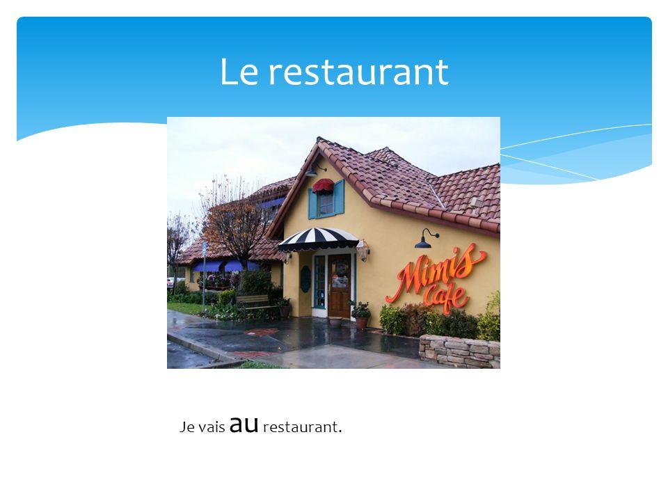 Le restaurant Je vais au restaurant.