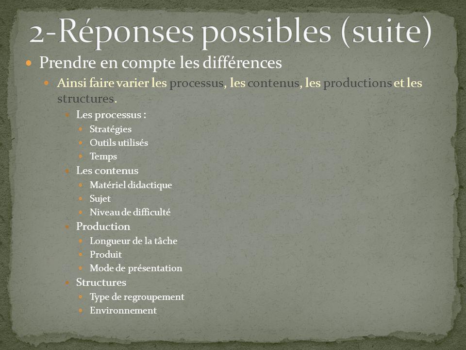 Prendre en compte les différences Ainsi faire varier les processus, les contenus, les productions et les structures.