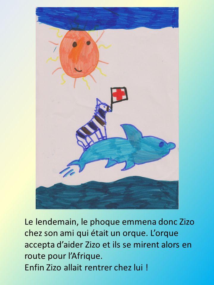 Le lendemain, le phoque emmena donc Zizo chez son ami qui était un orque. Lorque accepta daider Zizo et ils se mirent alors en route pour lAfrique. En