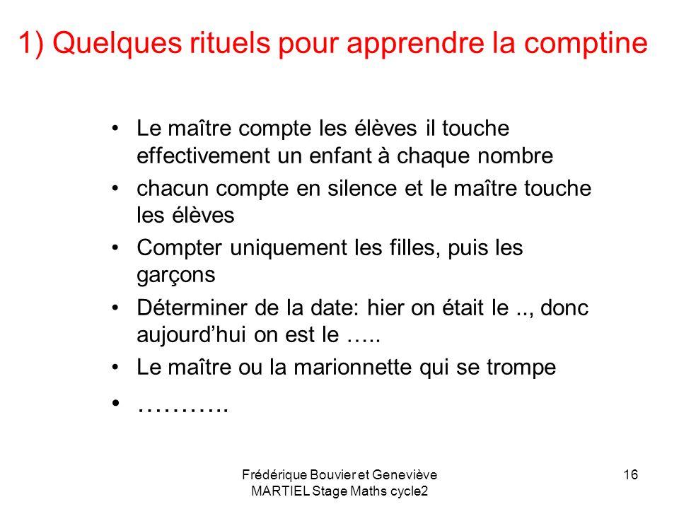 15 Comment enseigner la comptine? 1)Pendant les rituels 2) Avec des comptines 3) Avec des livres à compter 4) Avec des jeux (filet/poissons) Frédériqu