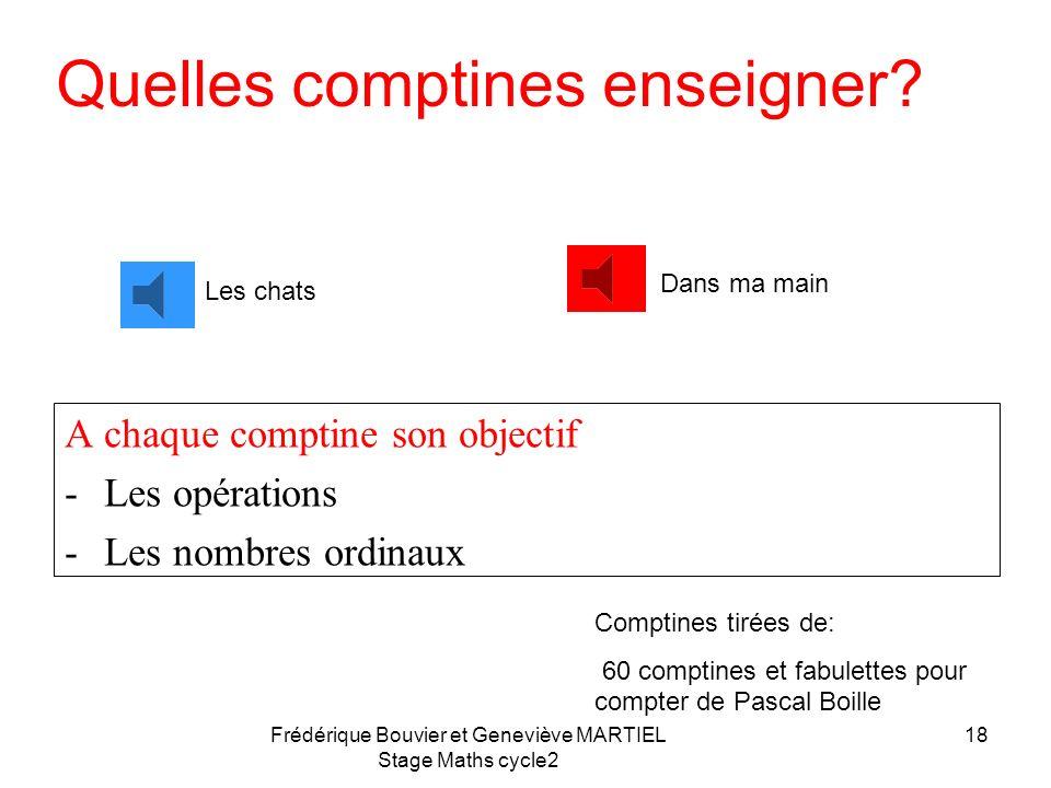 Frédérique Bouvier et Geneviève MARTIEL Stage Maths cycle2 17 A chaque comptine son objectif 1)Apprendre à dire la comptine sans se tromper 2)Apprendr