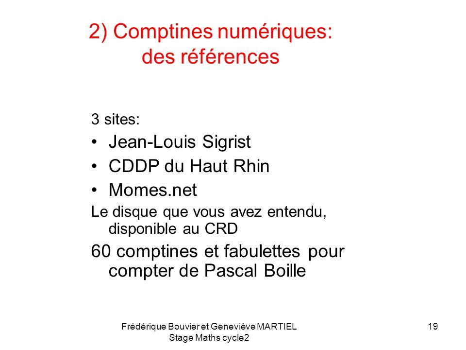 Frédérique Bouvier et Geneviève MARTIEL Stage Maths cycle2 18 A chaque comptine son objectif -Les opérations -Les nombres ordinaux Comptines tirées de
